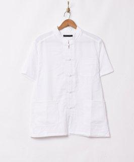 古着【3色展開】「TEMPTATION」ピーチスキン 半袖 チャイナシャツ ホワイト 古着のネット通販 古着屋グレープフルーツムーン