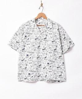 古着【2色展開】総柄 オープンカラー半袖シャツ ホワイト 古着のネット通販 古着屋グレープフルーツムーン