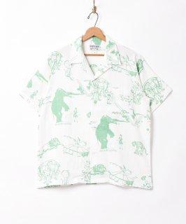 古着【2色展開】「TEMPTATION」サーカスパターン オープンカラー 半袖シャツ ホワイト 古着のネット通販 古着屋グレープフルーツムーン