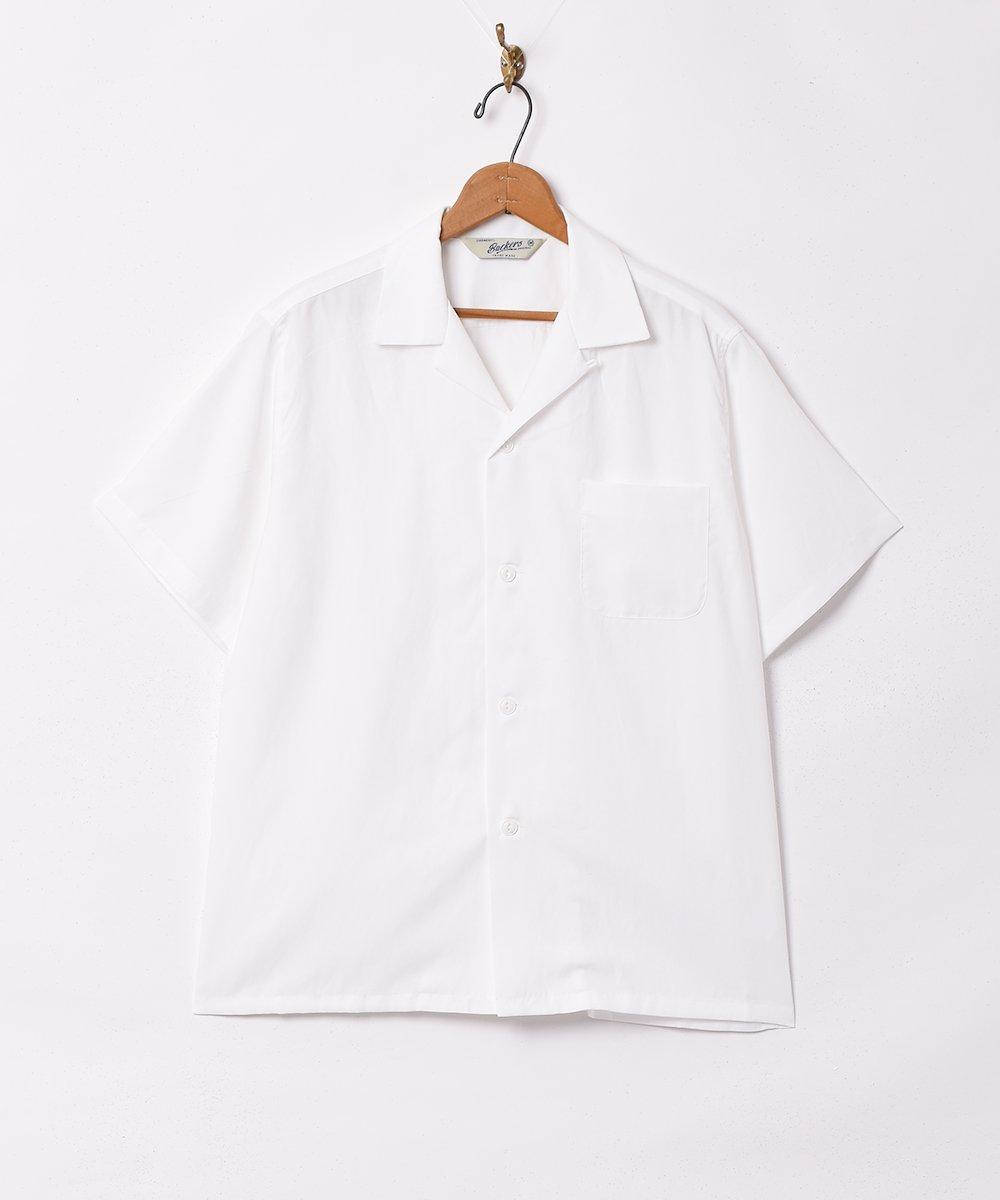 古着 【3色展開】「Backers」ピーチスキン オープンカラー 半袖シャツ ホワイト 古着 ネット 通販 古着屋グレープフルーツムーン