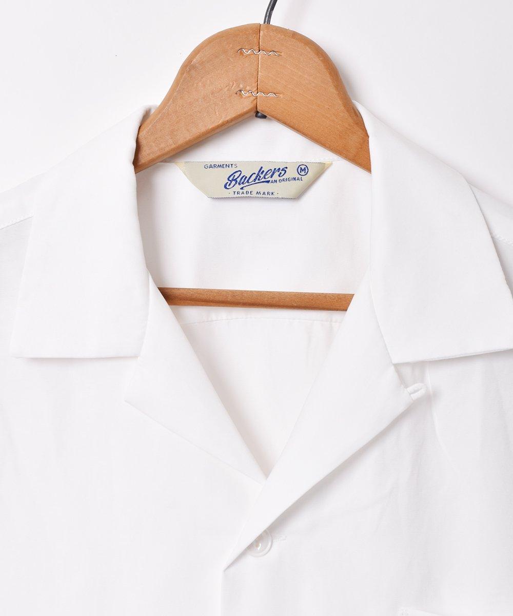 【3色展開】「Backers」ピーチスキン オープンカラー 半袖シャツ ホワイトサムネイル