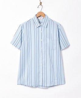 古着【3色展開】「TEMPTATION」ピンストライプ柄 半袖シャツ ブルー 古着のネット通販 古着屋グレープフルーツムーン