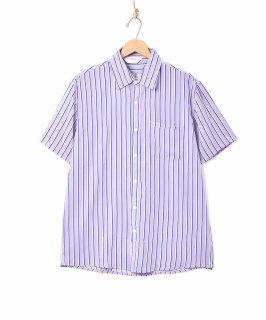 古着【3色展開】「TEMPTATION」ピンストライプ柄 半袖シャツ パープル 古着のネット通販 古着屋グレープフルーツムーン