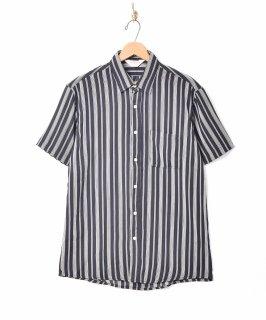 古着【3色展開】「TEMPTATION」ピンストライプ柄 半袖シャツ ブラック 古着のネット通販 古着屋グレープフルーツムーン