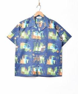 古着【2色展開】「Backers」 ウォーターペイント オープンカラー 半袖シャツ ネイビー 古着のネット通販 古着屋グレープフルーツムーン