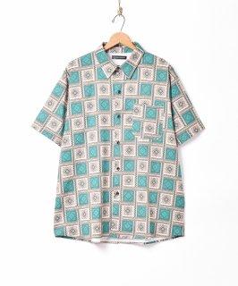 古着「TEMPTATION」幾何学柄 半袖シャツ 古着のネット通販 古着屋グレープフルーツムーン