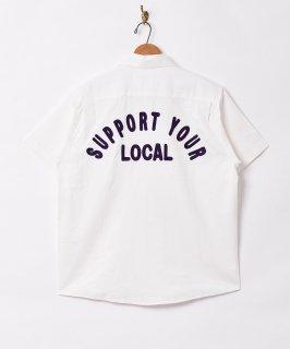 古着【3色展開】「Backers」刺繍 半袖 ワークシャツ ホワイト 古着のネット通販 古着屋グレープフルーツムーン