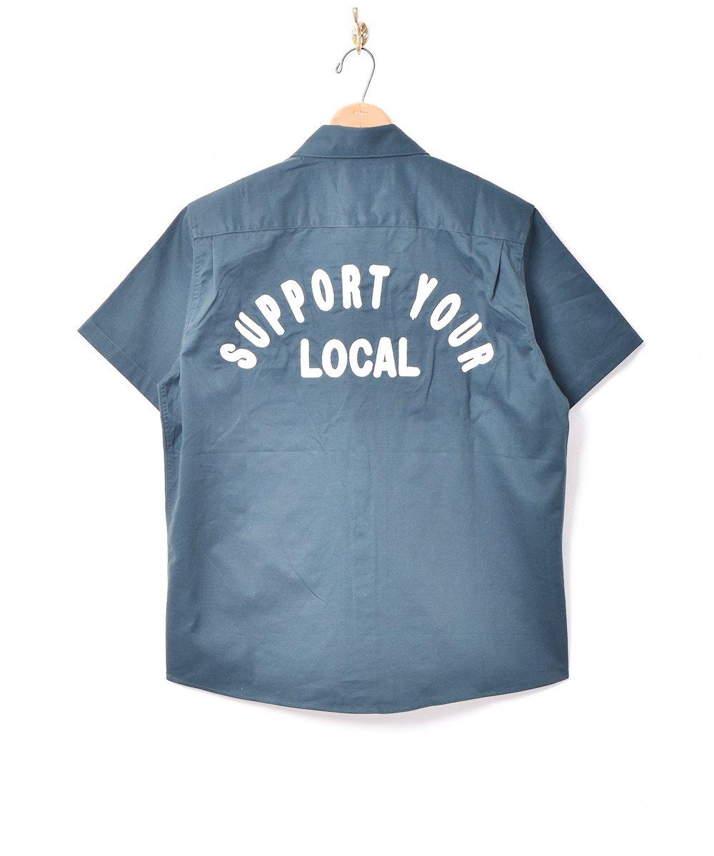 古着 【3色展開】「Backers」刺繍 半袖 ワークシャツ グリーン 古着 ネット 通販 古着屋グレープフルーツムーン