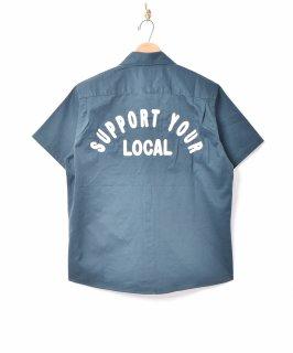 古着【3色展開】「Backers」刺繍 半袖 ワークシャツ グリーン 古着のネット通販 古着屋グレープフルーツムーン