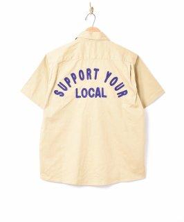 古着【3色展開】「Backers」刺繍 半袖 ワークシャツ ベージュ 古着のネット通販 古着屋グレープフルーツムーン