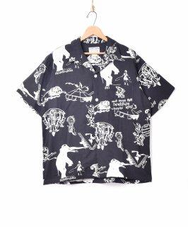 古着【2色展開】「TEMPTATION」サーカスパターン オープンカラー 半袖シャツ ブラック 古着のネット通販 古着屋グレープフルーツムーン