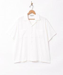 古着【3色展開】「Backers」リネンミックス オープンカラー 半袖シャツ ホワイト 古着のネット通販 古着屋グレープフルーツムーン
