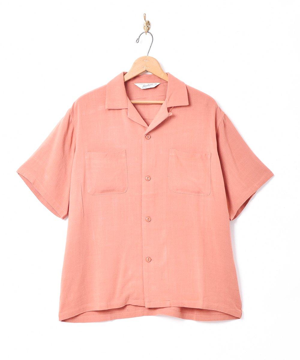 古着 【3色展開】「Backers」リネンミックス オープンカラー 半袖シャツ オレンジ 古着 ネット 通販 古着屋グレープフルーツムーン