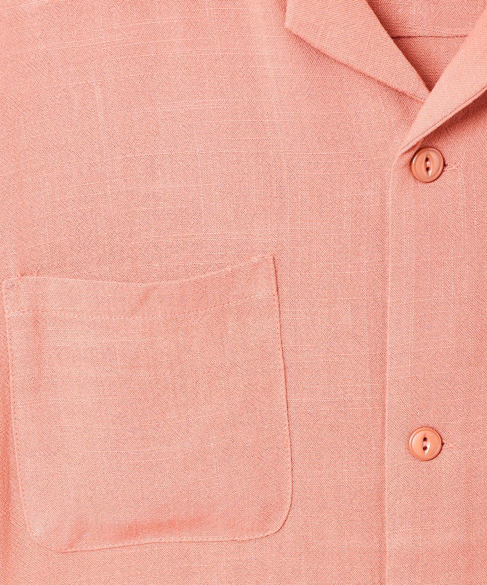 【3色展開】「Backers」リネンミックス オープンカラー 半袖シャツ オレンジサムネイル