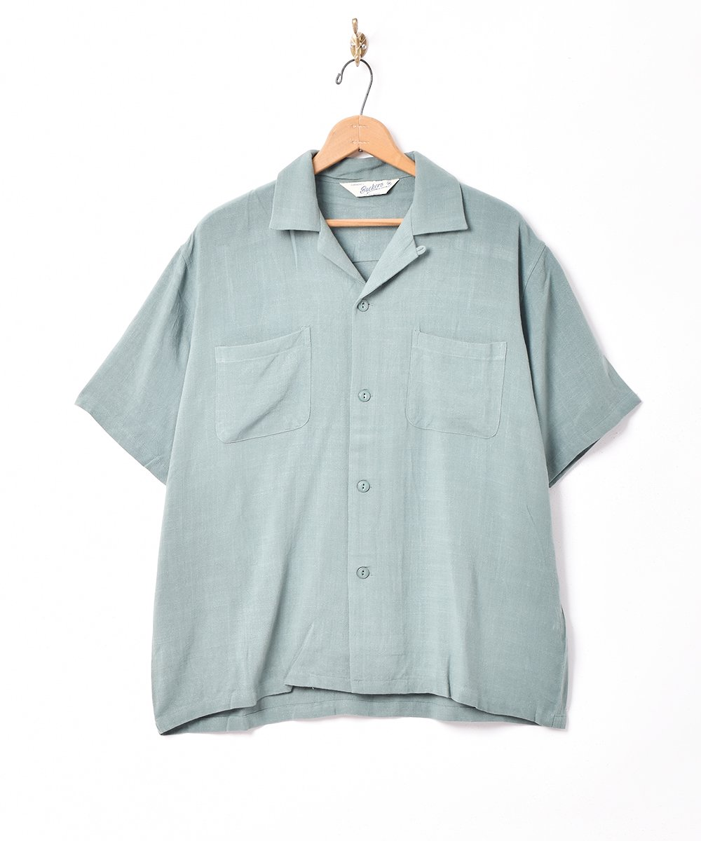 古着 【3色展開】「Backers」リネンミックス オープンカラー 半袖シャツ グリーン 古着 ネット 通販 古着屋グレープフルーツムーン