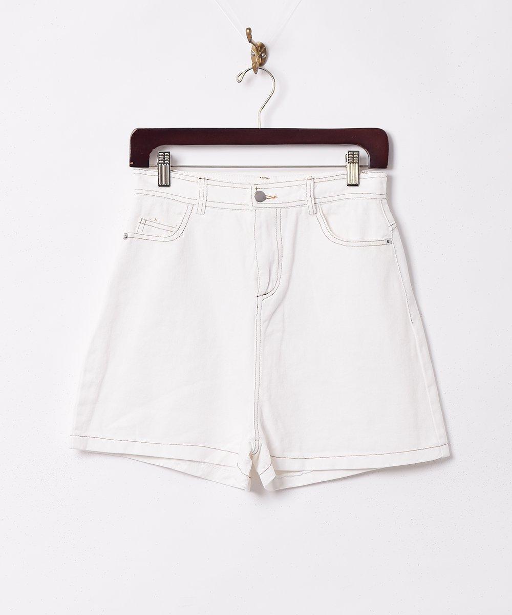 古着 【2色展開】「Elcamino」ステッチショートパンツ ホワイト 古着 ネット 通販 古着屋グレープフルーツムーン