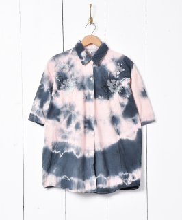 古着タイダイ柄 刺繍入り半袖シャツ 古着のネット通販 古着屋グレープフルーツムーン