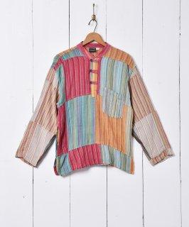 古着スタンドカラー パッチワークシャツ 古着のネット通販 古着屋グレープフルーツムーン