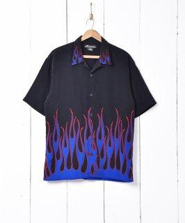 古着ファイヤーパターン 半袖シャツ 古着のネット通販 古着屋グレープフルーツムーン