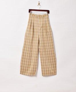 古着【2色展開】「Meridian」チェック柄 ワイドパンツ W26 ベージュ 古着のネット通販 古着屋グレープフルーツムーン