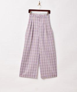 古着【2色展開】「Meridian」チェック柄 ワイドパンツ W26 パープル 古着のネット通販 古着屋グレープフルーツムーン
