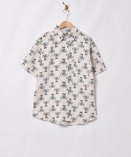 古着「Emerald Motel」コットンリネン ウーマンパターン 半袖シャツ 古着のネット通販 古着屋グレープフルーツムーン