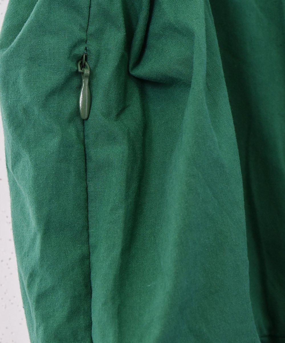 【2色展開】「Meridian」スクエアネック パフスリーブ半袖ワンピース グリーンサムネイル