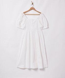 古着【2色展開】「Meridian」スクエアネック パフスリーブ半袖ワンピース ホワイト 古着のネット通販 古着屋グレープフルーツムーン