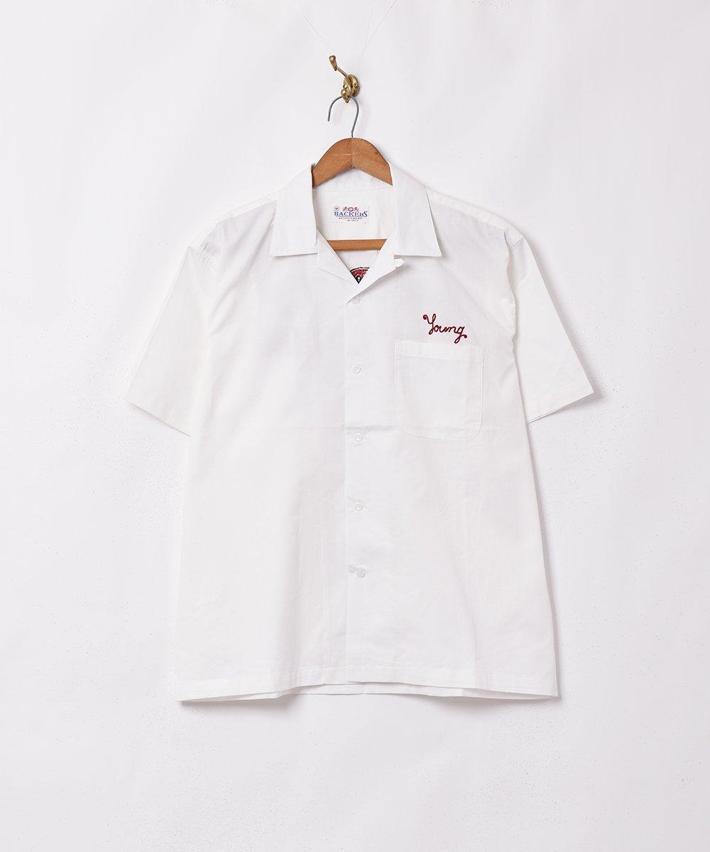 【2色展開】「Backers」半袖チェーンステッチシャツ ホワイトサムネイル