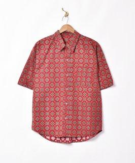 古着【2色展開】小紋柄 半袖シャツ ワインレッド 古着のネット通販 古着屋グレープフルーツムーン