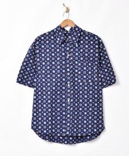 古着【2色展開】小紋柄 半袖シャツ ネイビー 古着のネット通販 古着屋グレープフルーツムーン