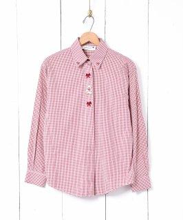 古着ギンガムチェック 刺繍 長袖シャツ 古着のネット通販 古着屋グレープフルーツムーン