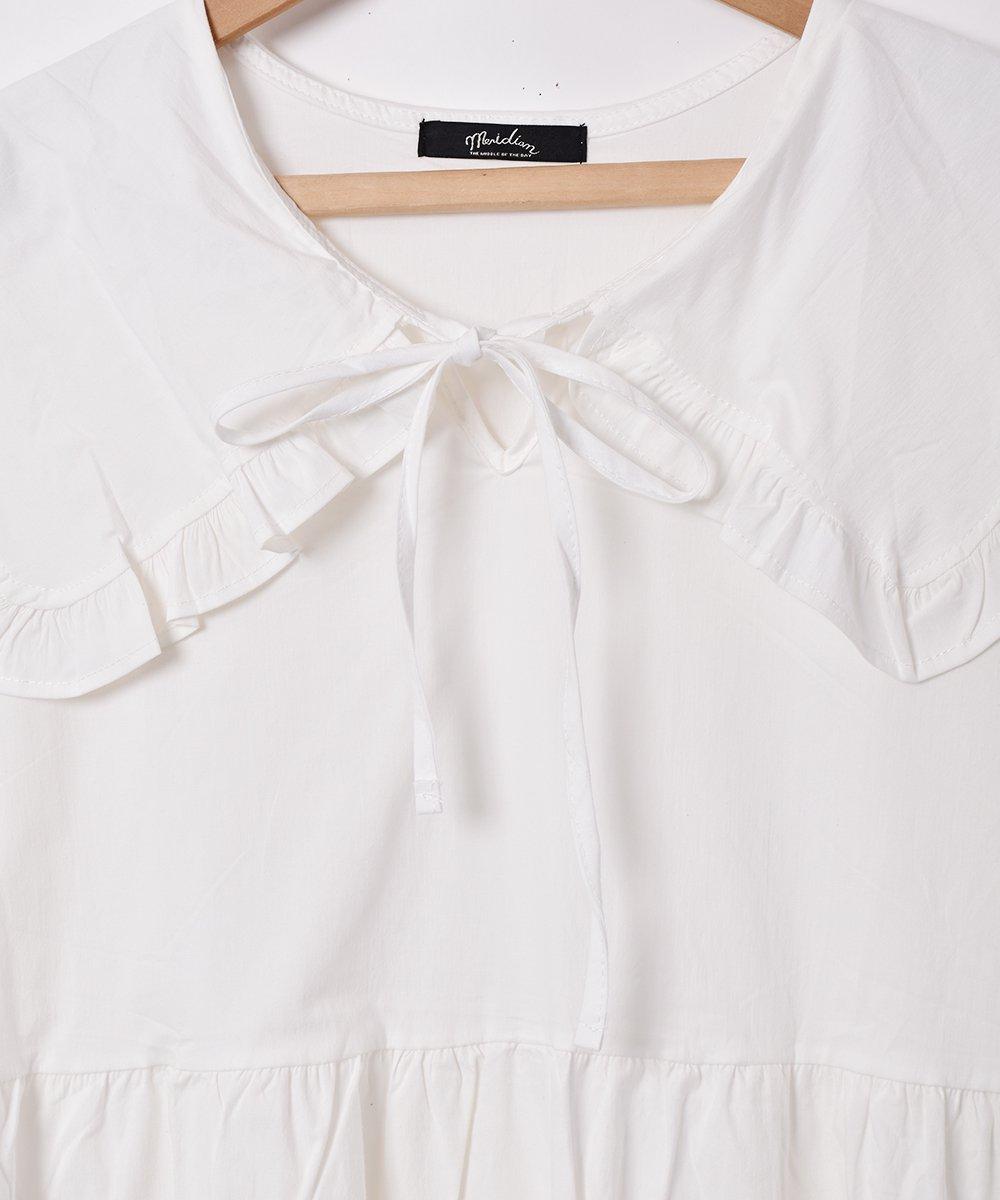 【2色展開】「Meridian」ビッグフリルカラー 半袖ワンピース  ホワイトサムネイル