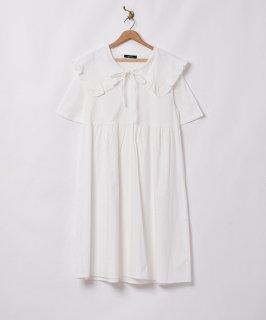 古着【2色展開】「Meridian」ビッグフリルカラー 半袖ワンピース  ホワイト 古着のネット通販 古着屋グレープフルーツムーン