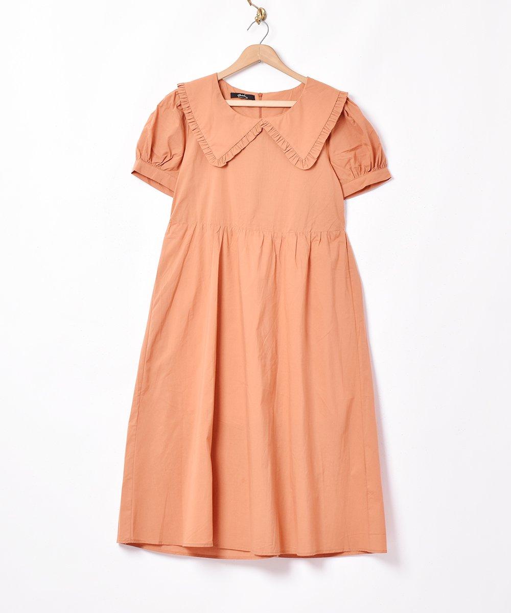 古着 【2色展開】「Meridian」ビッグフリルカラー半袖ワンピース オレンジ 古着 ネット 通販 古着屋グレープフルーツムーン