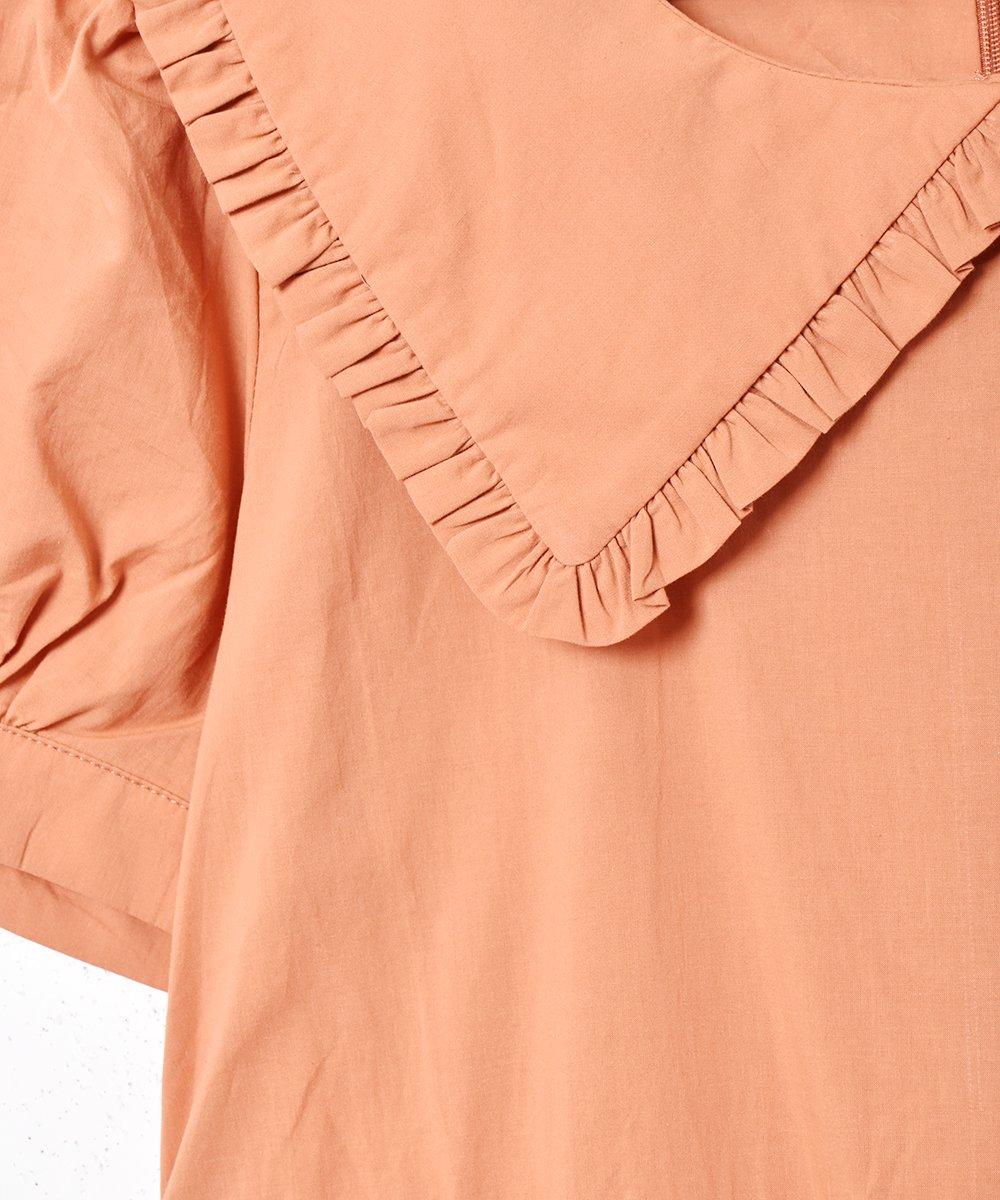 【2色展開】「Meridian」ビッグフリルカラー半袖ワンピース オレンジサムネイル