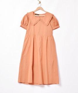 古着【2色展開】「Meridian」ビッグフリルカラー半袖ワンピース オレンジ 古着のネット通販 古着屋グレープフルーツムーン