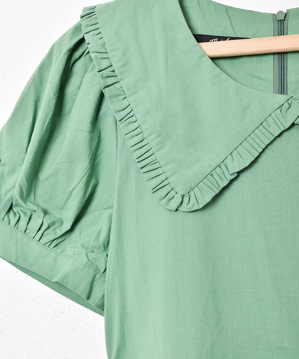 【2色展開】「Meridian」ビッグフリルカラー半袖ワンピース グリーンサムネイル