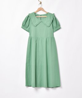 古着【2色展開】「Meridian」ビッグフリルカラー半袖ワンピース グリーン 古着のネット通販 古着屋グレープフルーツムーン