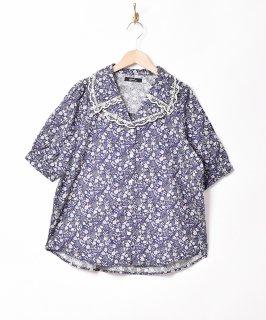 古着「Meridian」小花柄 ダブルカラー半袖ブラウス 古着のネット通販 古着屋グレープフルーツムーン