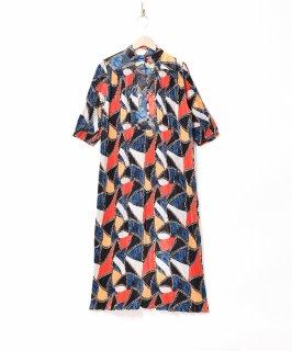 古着【2色展開】「Meridian」総柄 スタンドカラー プリーツワンピース ネイビー 古着のネット通販 古着屋グレープフルーツムーン
