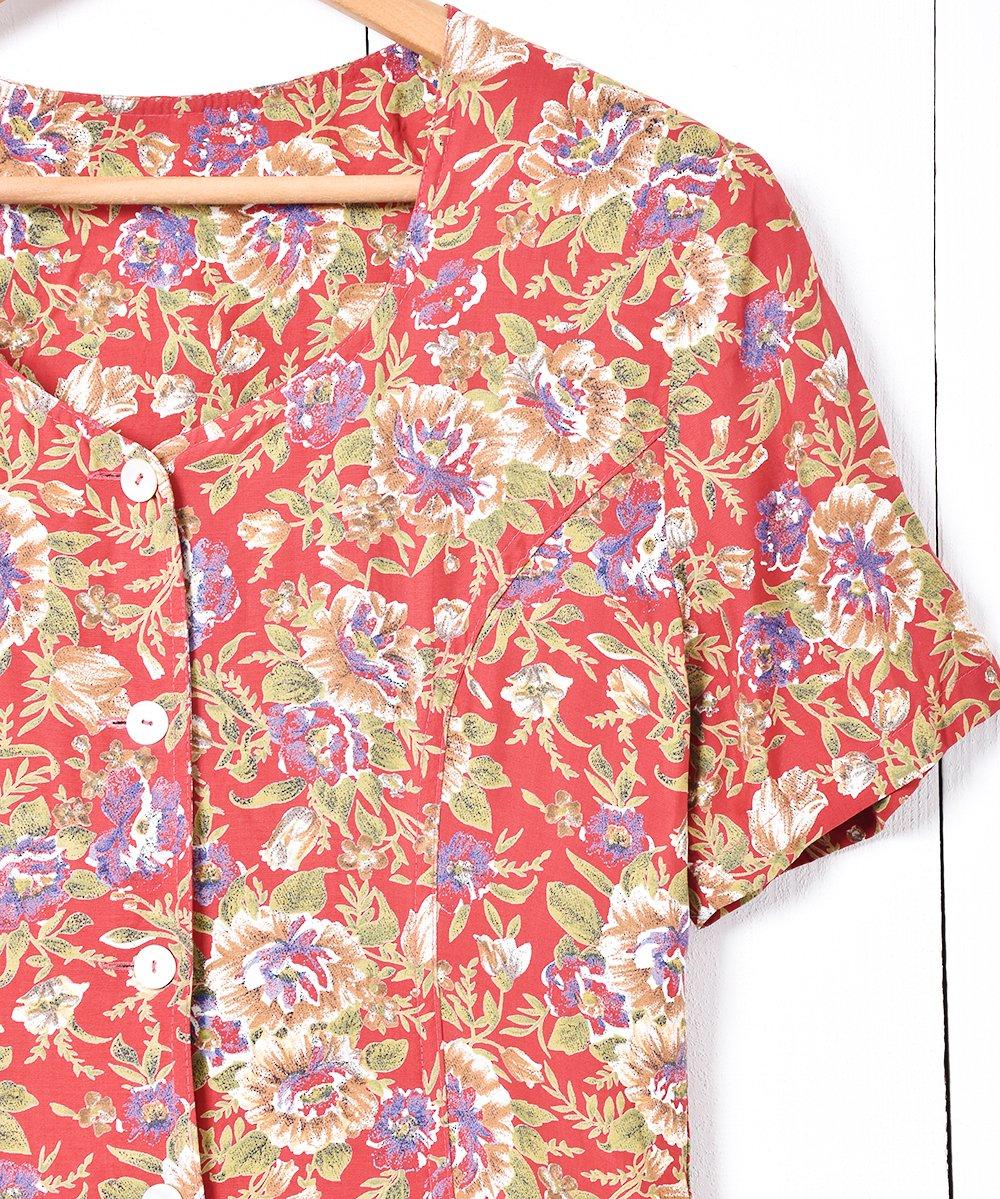 シェルボタン 花柄 半袖ワンピースサムネイル