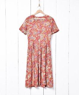 古着シェルボタン 花柄 半袖ワンピース 古着のネット通販 古着屋グレープフルーツムーン