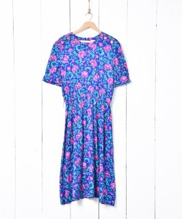 古着アメリカ製 70's ボタンデザイン 花柄 半袖ワンピース 古着のネット通販 古着屋グレープフルーツムーン