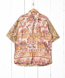 古着インド製 半袖 総柄シャツ 古着のネット通販 古着屋グレープフルーツムーン