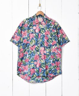 古着インド製 花柄 半袖シャツ 古着のネット通販 古着屋グレープフルーツムーン