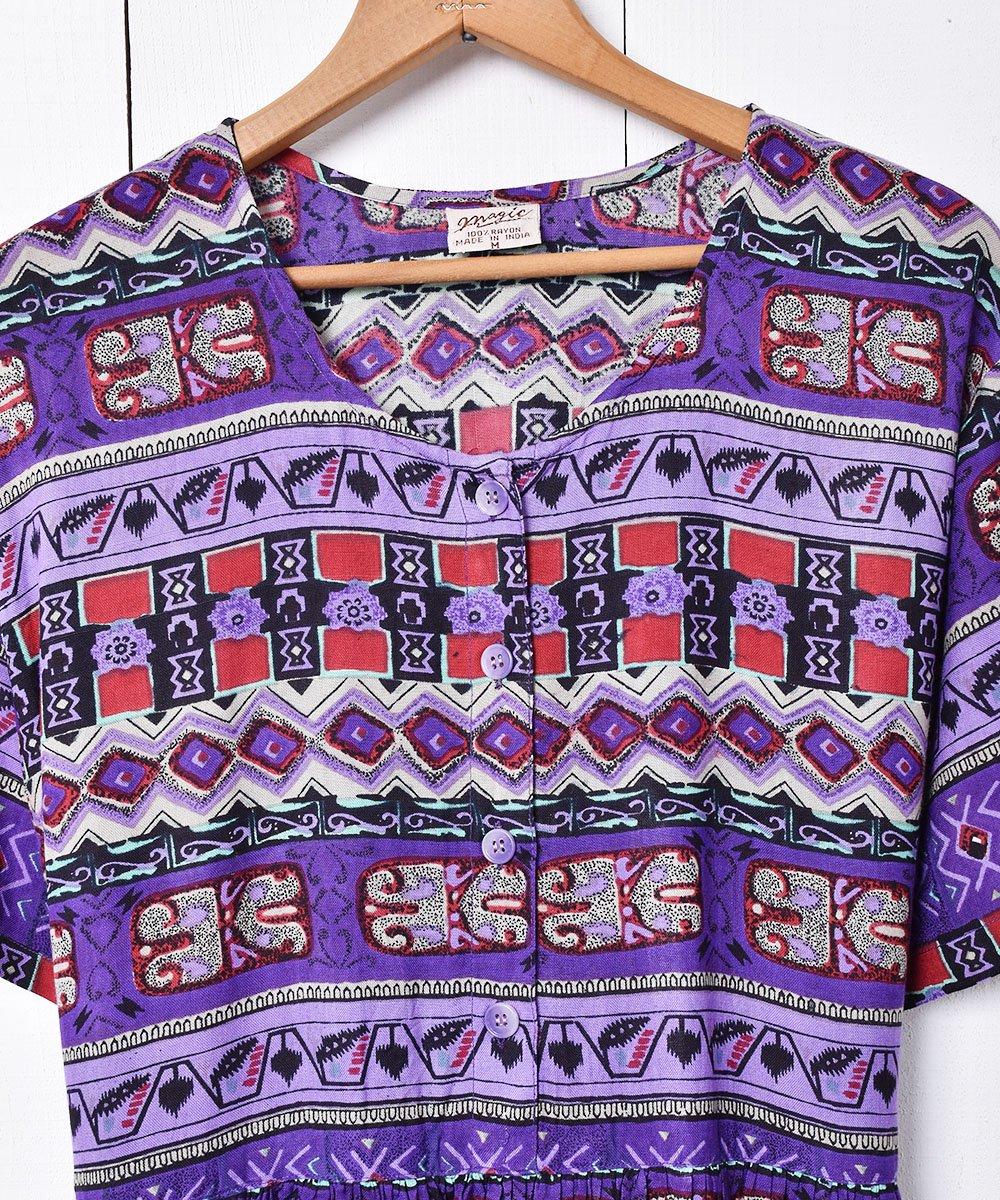 インド製 総柄 半袖ワンピースサムネイル