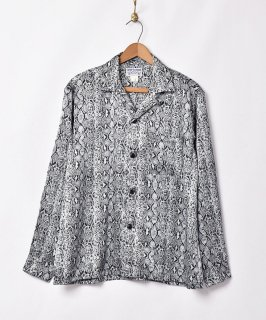 古着「TEMPTATION」パイソンプリント オープンカラー長袖シャツ 古着のネット通販 古着屋グレープフルーツムーン