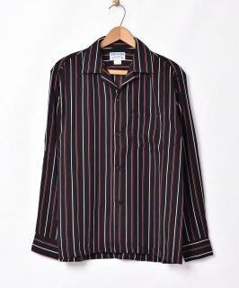 古着【3色展開】「TEMPTATION」ストライプ柄 オープンカラー 長袖シャツ ブラック 古着のネット通販 古着屋グレープフルーツムーン