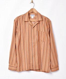 古着【3色展開】「TEMPTATION」ストライプ柄 オープンカラー 長袖シャツ ブラウン 古着のネット通販 古着屋グレープフルーツムーン